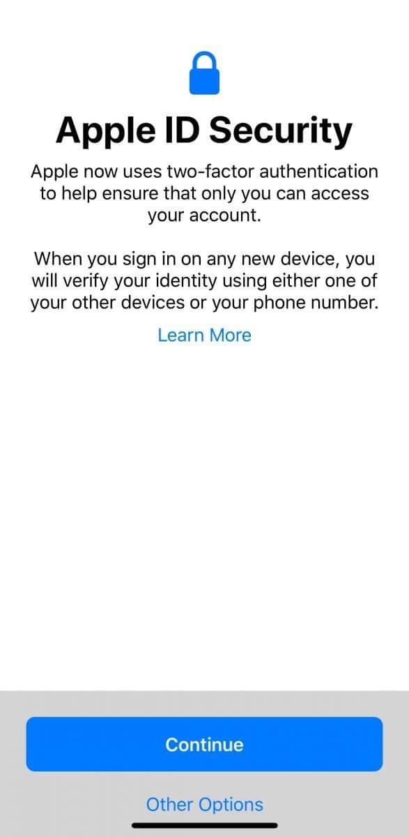 Apple ID security warning