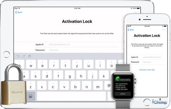 iCloud unlock showing activation lock screen