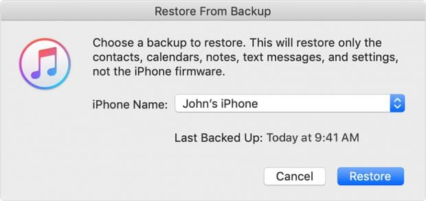 itunes restore from backup pop-up