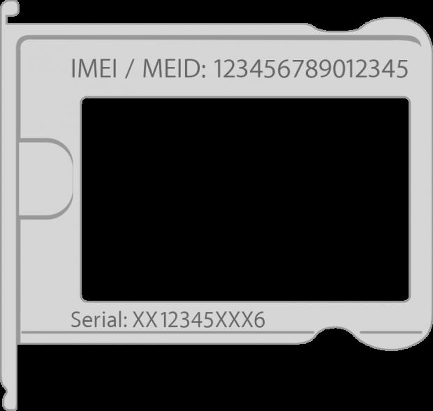IMEI. on a SIM card tray